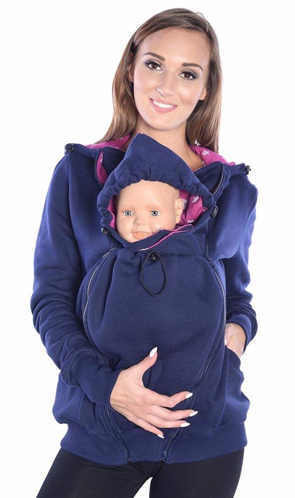 3 w1 bluza 3D ciążowa i do noszenia dziecka 4046/M50 ciemny granat 5