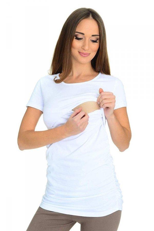 MijaCulture - bluzka 2 w 1 ciążowa i do karmienia krótki rękaw M03/3074 biały 2