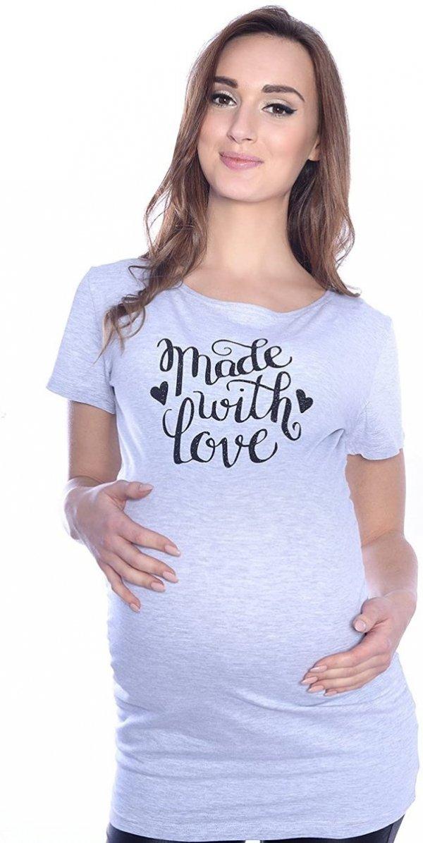 """Komfortowy  T-shirt """"Made with love"""" dla kobiet w ciąży 9080  melanż"""