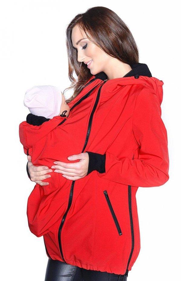 kurtka softshell 3D ciążowa i do noszenia dziecka M52/4068 czerwony 1
