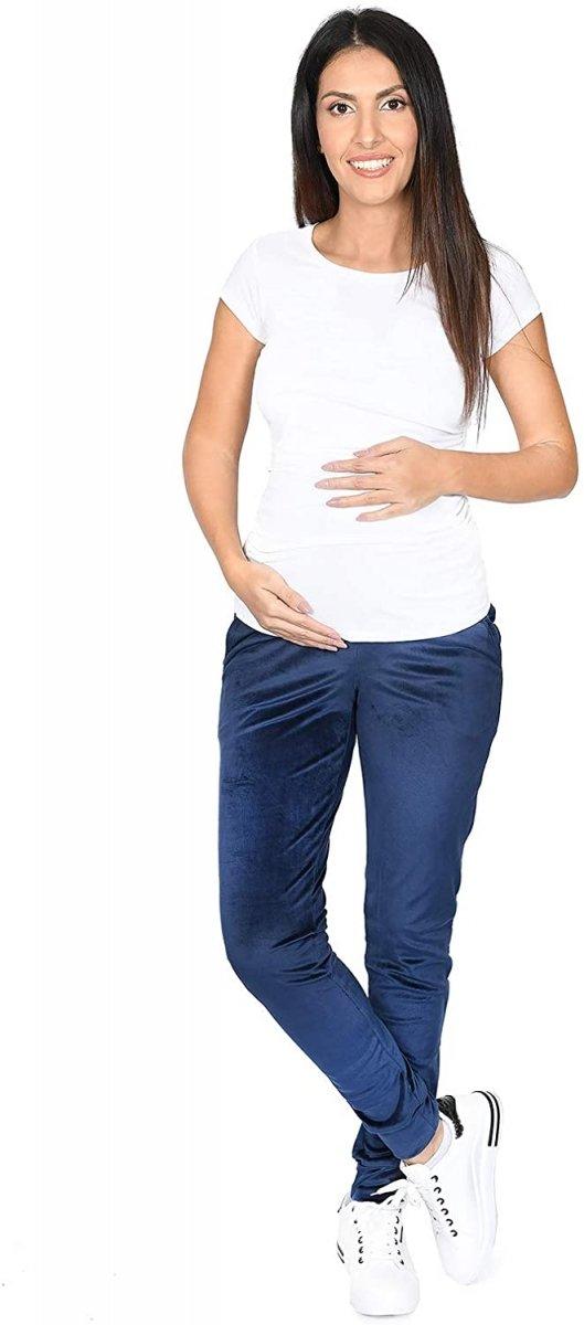 Wygodne spodnie ciązowe dresowe welurowe  9096 granat3