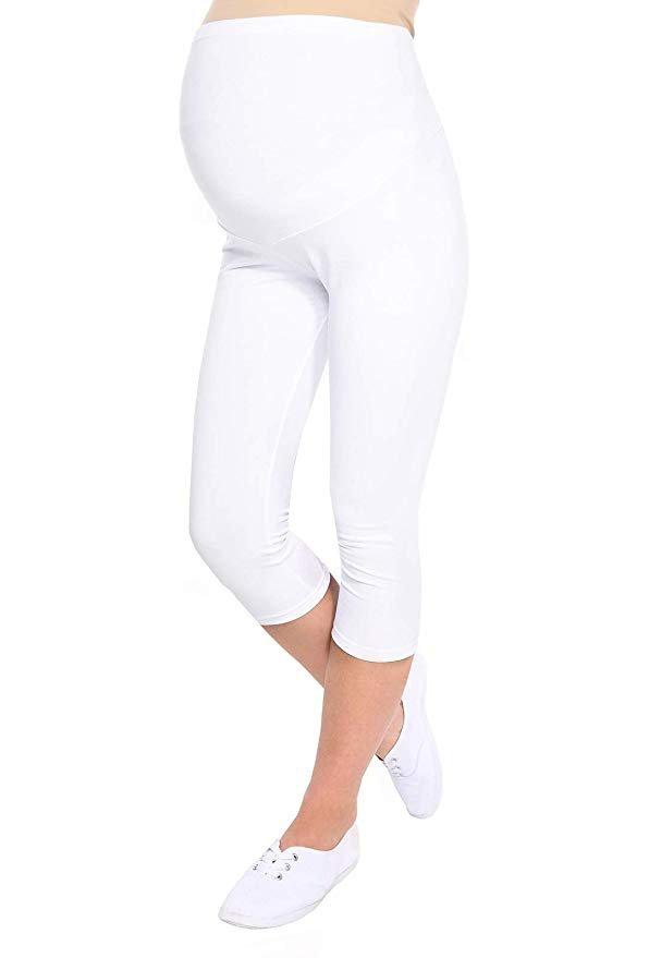 Komfortowe legginsy ciążowe 3/4 białe 3