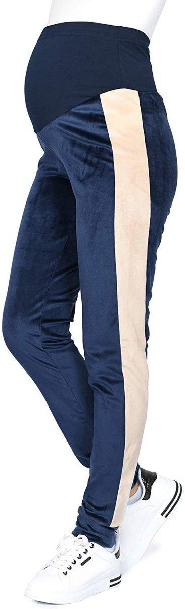 Wygodne spodnie ciązowe dresowe welurowe 9096 granat/beż2
