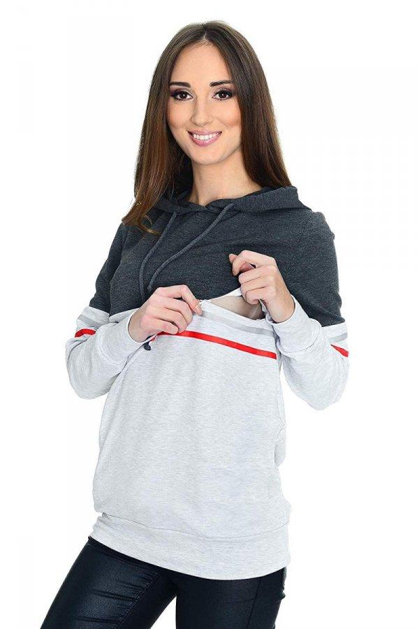 MijaCulture - 3 w 1 bluza ciążowa i do karmienia M72 4111 grafit/melanż 1