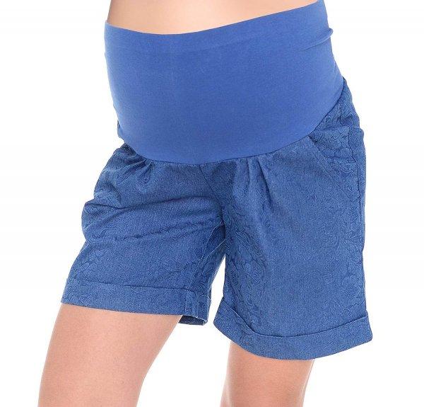MijaCulture - cienkie szorty ciążowe 4074/M56 niebieske druk 1