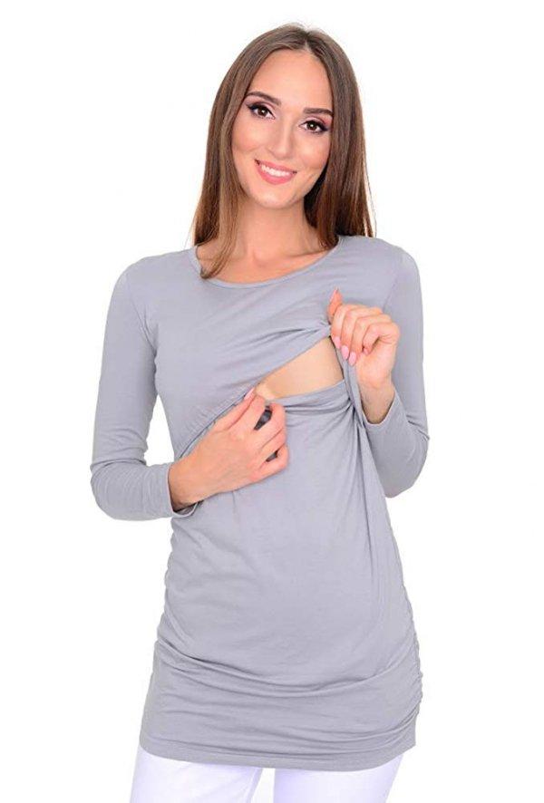 MijaCulture - bluzka 2 w 1 ciążowa i do karmienia długi rękaw M04/3075 szary 2