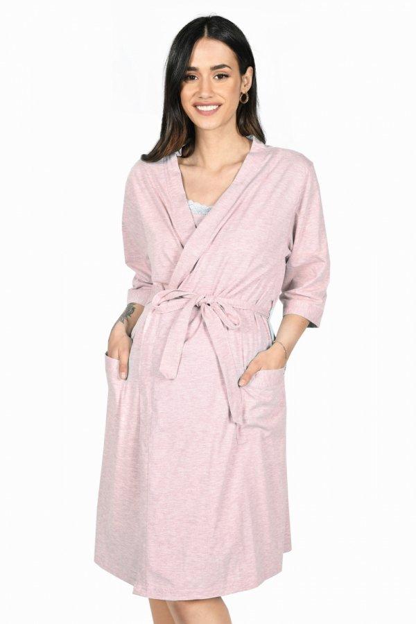MijaCulture - 2 w 1 komplet koszula nocna i do karmienia + szlafrok 2077 róż