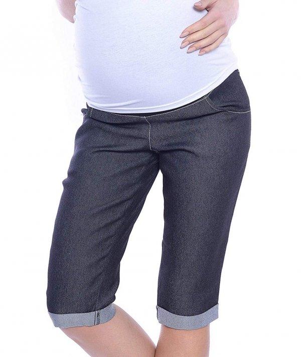 MijaCulture - spodnie rybaczki ciążowe 4015/ M35 denim czarny 3