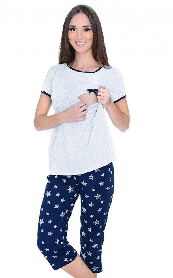 MijaCulture - piżama 3 w 1 ciążowa i do karmienia 4119/M69 melanż/granat 2