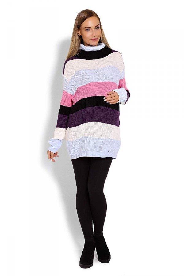 Wygodny sweter ciążowy w paski 70007/2012 różowy 2
