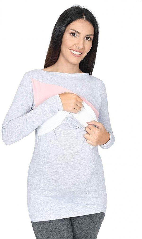 Praktyczna bluza ciążowa i do karmienia Paski 9088 melanż/biały/róż2