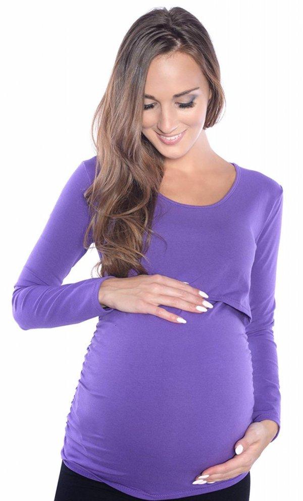 MijaCulture - bluzka 2 w1 ciążowa i do karmienia długi rękaw 1103 lila 2