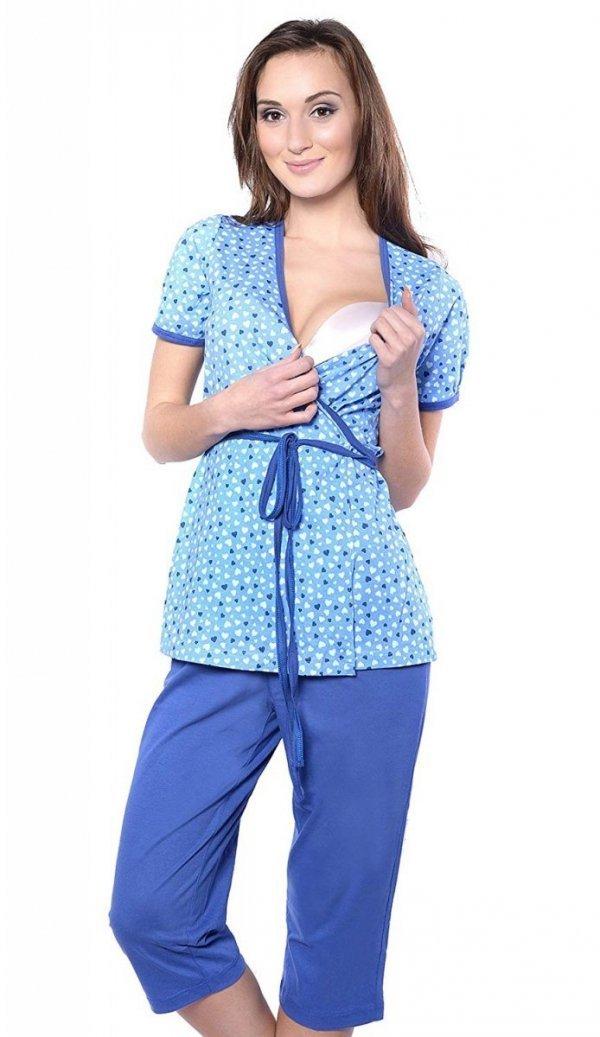 Urocza piżama 2 w 1 ciążowa i do karmienia 5001/645 niebieski 2