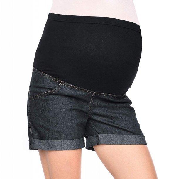MijaCulture - szorty ciążowe 3086/M13 denim czarny 1