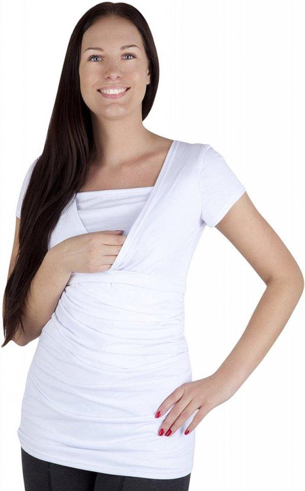 MijaCulture - bluzka z paskiem 2 w 1 ciążowa i do karmienia 4005/M17 biały1
