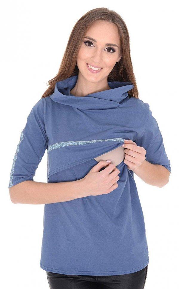 """3 w 1 bluza ciążowa i do karmienia """"Monica"""" 7134 niebieski 1"""