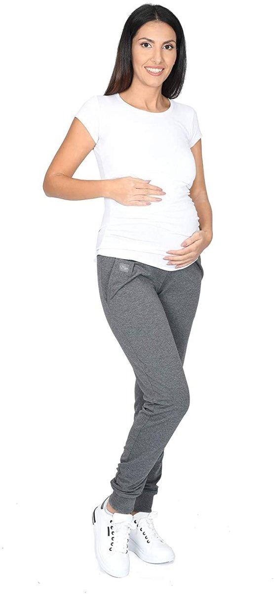 MijaCulture Wygodne spodnie dresowe ciążowe Coco M003 grafit3