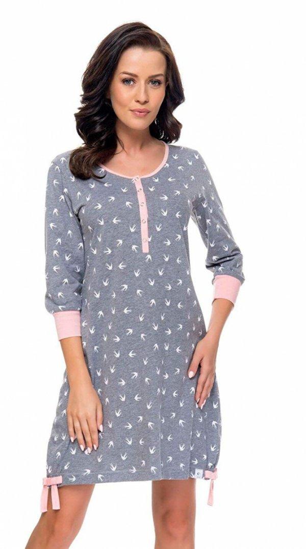 Wygodna koszula 2 w 1 ciążowa i do karmienia długi rękaw 5070/9104,1055 szary/różowy