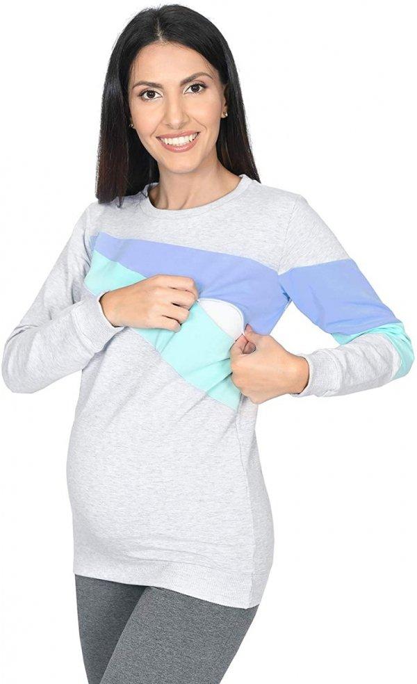 """Funkcjonalna bluza ciążowa i do karmienia """"SKY"""" 9086 melanż/niebieski/mięta2"""