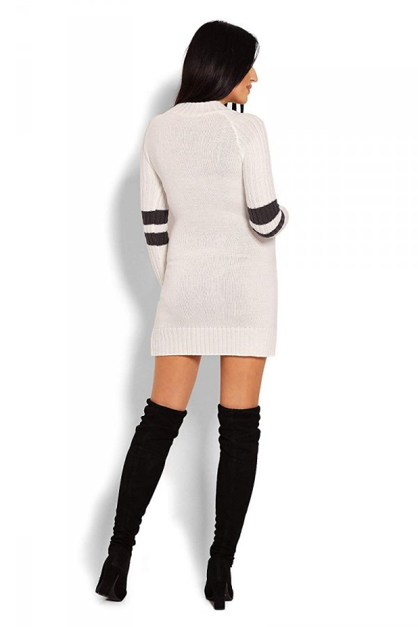 Wygodny sweter ciążowy z paskami na rękawach 70011/2010 kremowy 4