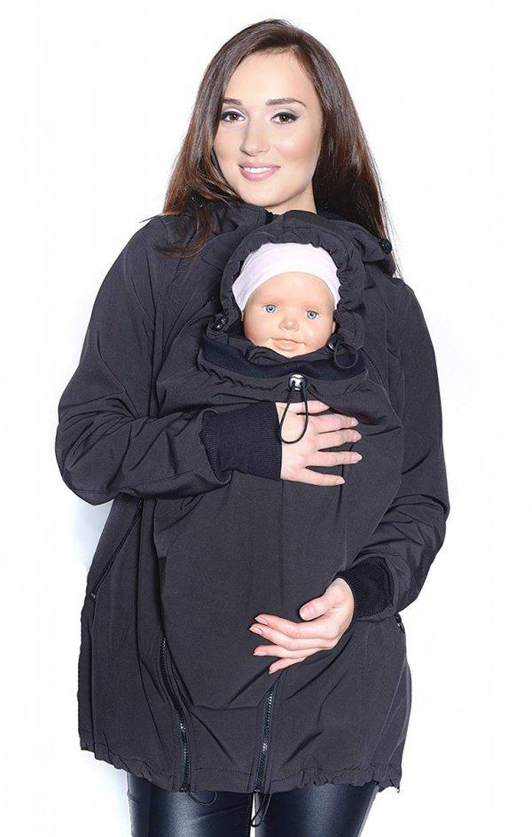 kurtka softshell 3D ciążowa i do noszenia dziecka M52/4068 czarny 3