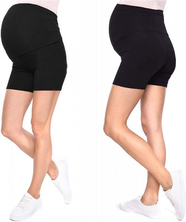 Wygodne krótkie legginsy ciążowe Mama Mia 1053/2 komplet czarny/czarny1
