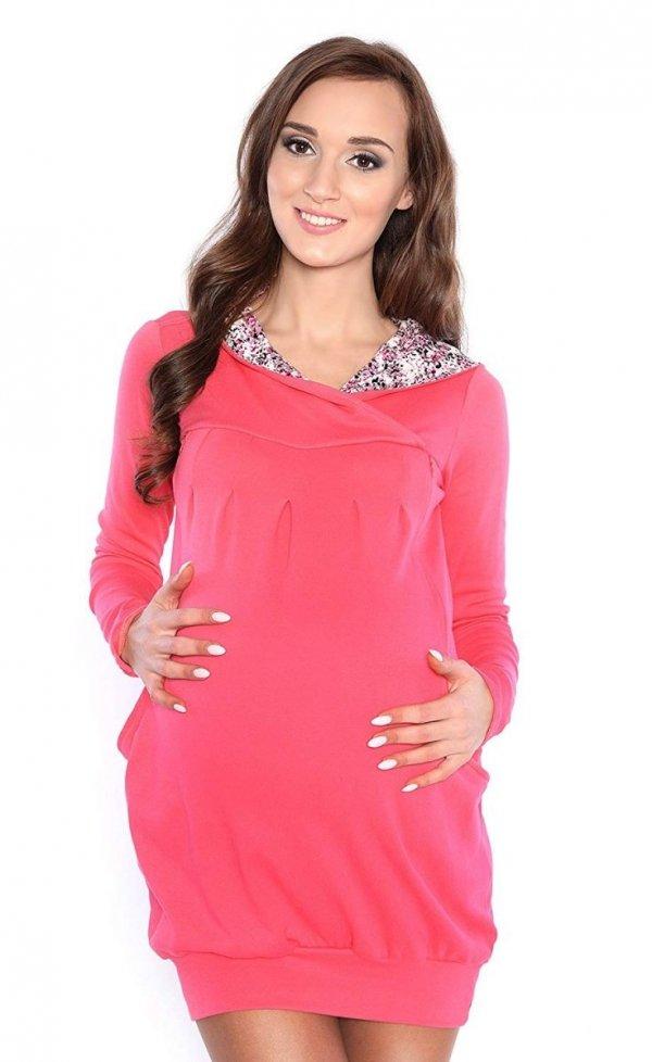 """bluza 3 w 1 ciążowa i do karmienia z kapturem """"Mimi"""" 7102A koral 3"""