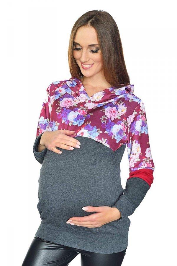 """MijaCulture - 3 w 1 bluza ciążowa i do karmienia """"Jane"""" 7144 grafit/kwiaty 2 2"""