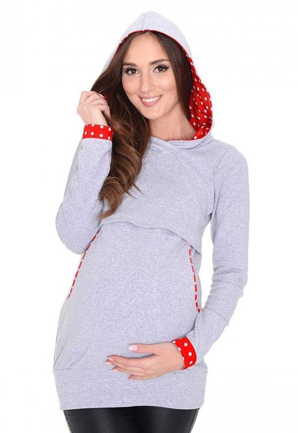 3 w1 bluza ciążowa i do karmienia z kapturem 3077/M07 melanż 3
