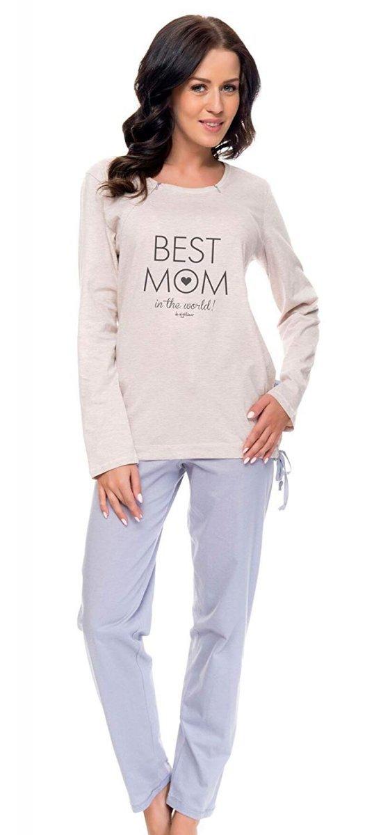 Wygodna piżama 2 w 1 ciążowa i do karmienia 5069/9101 jasno szary