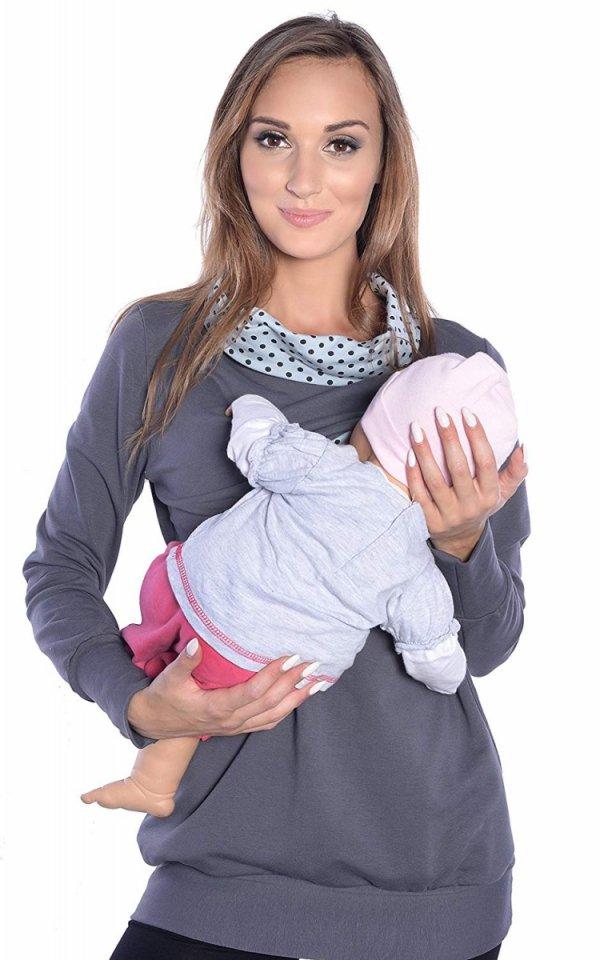 3 w1 bluza ciążowa i do karmienia 4057/M49 szary 2