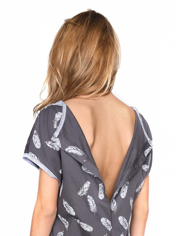 MijaCulture - koszula do porodu 4123 grafit/piórka 7