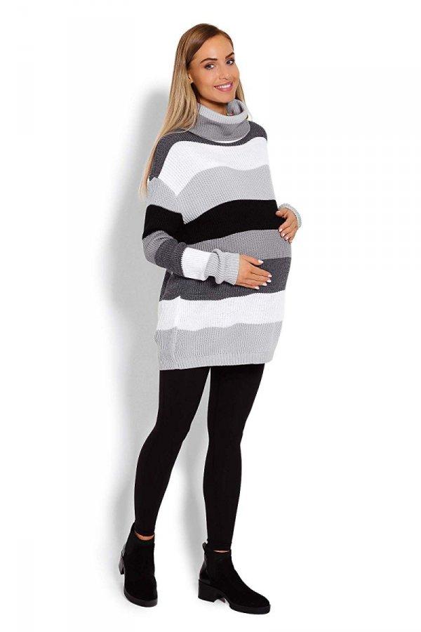 Wygodny sweter ciążowy w paski 70007/2012 szary 3