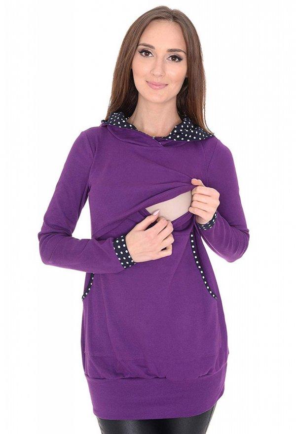 3 w1 bluza ciążowa i do karmienia z kapturem 3077/M07 fiolet 2