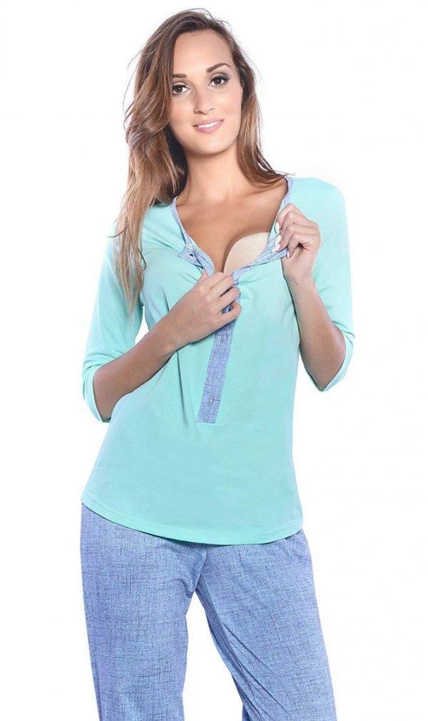 3 w 1 piżama ciążowa i do karmienia 4054/M52 mięta/ niebieski 4