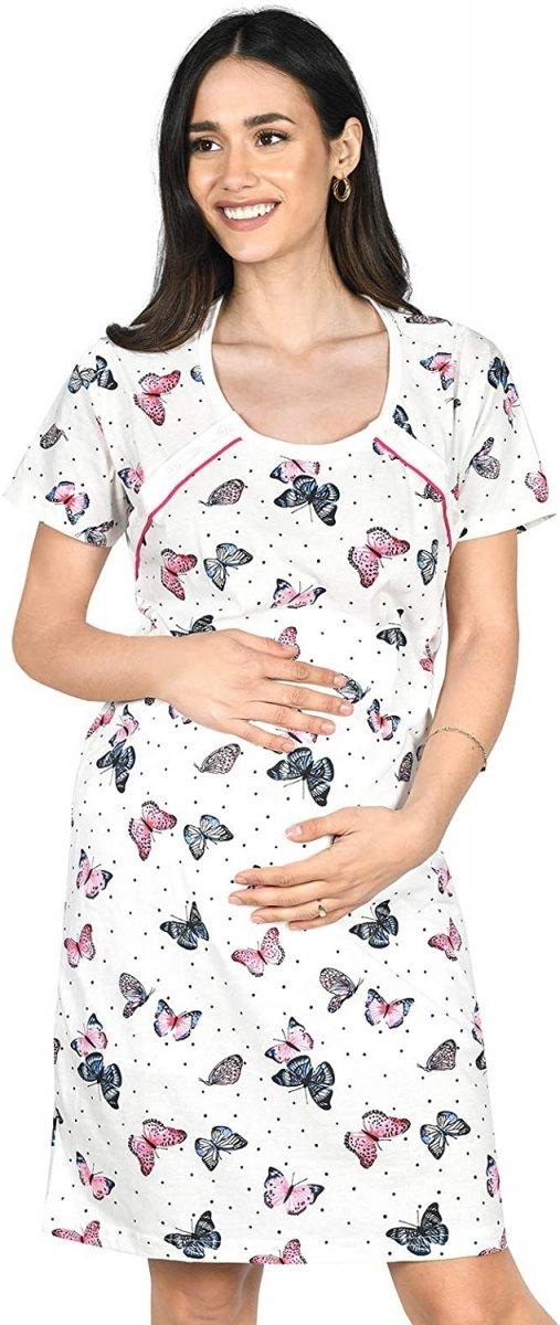MijaCulture - 2 w 1 koszula nocna i do karmienia  2074 biały motyle