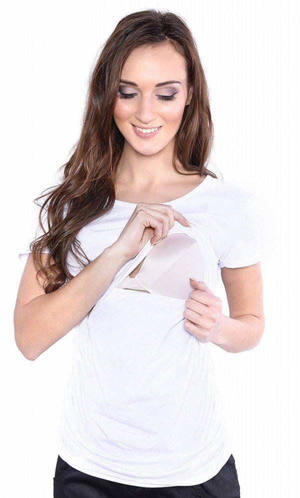 MijaCulture - bluzka 2 w1 ciążowa i do karmienia krótki rękaw 1102 biały 1