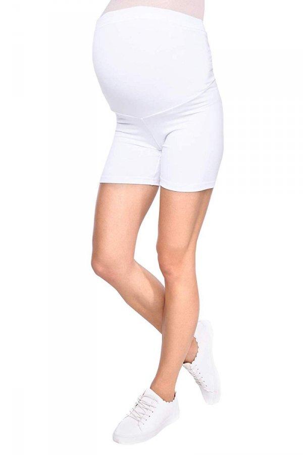 Wygodne krótkie legginsy ciążowe Mama Mia biały 1