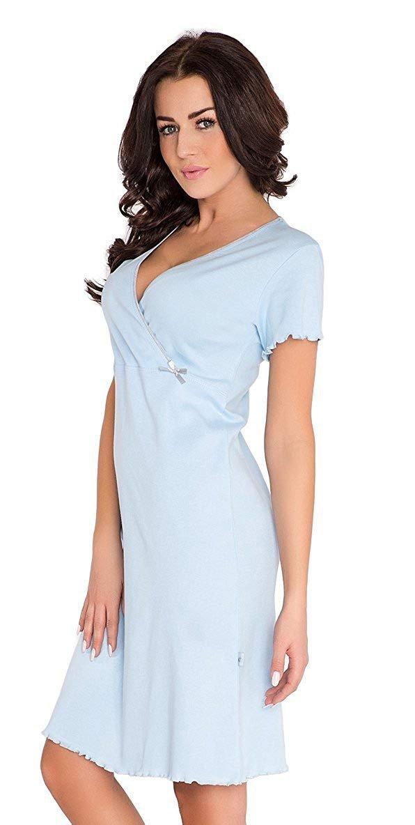 Elegancka koszula 2 w 1 ciążowa i do karmienia 5074/9017 jasno niebieski