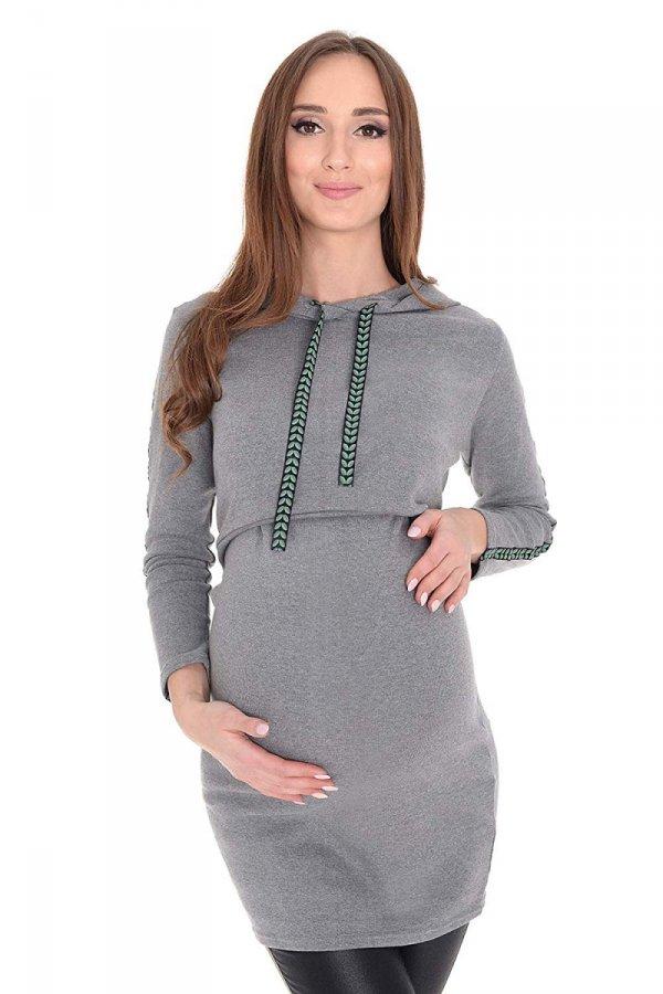 """bluza 3 w 1 ciążowa i do karmienia z kapturem """"Melanie"""" 7136 melanż/zielony 1"""