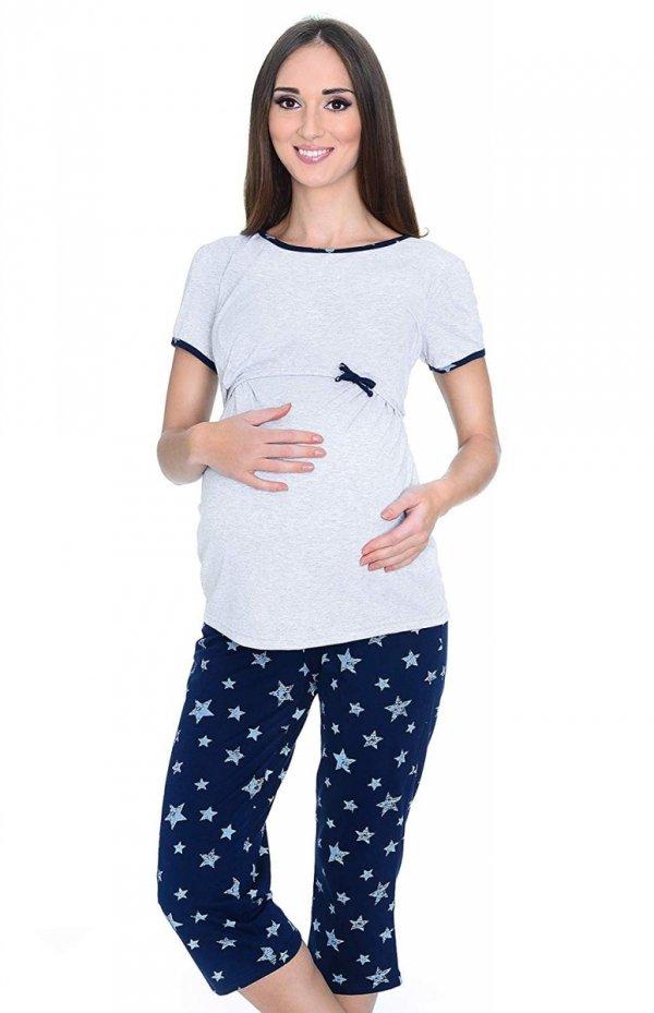 MijaCulture - piżama 3 w 1 ciążowa i do karmienia 4119/M69 melanż/granat 1