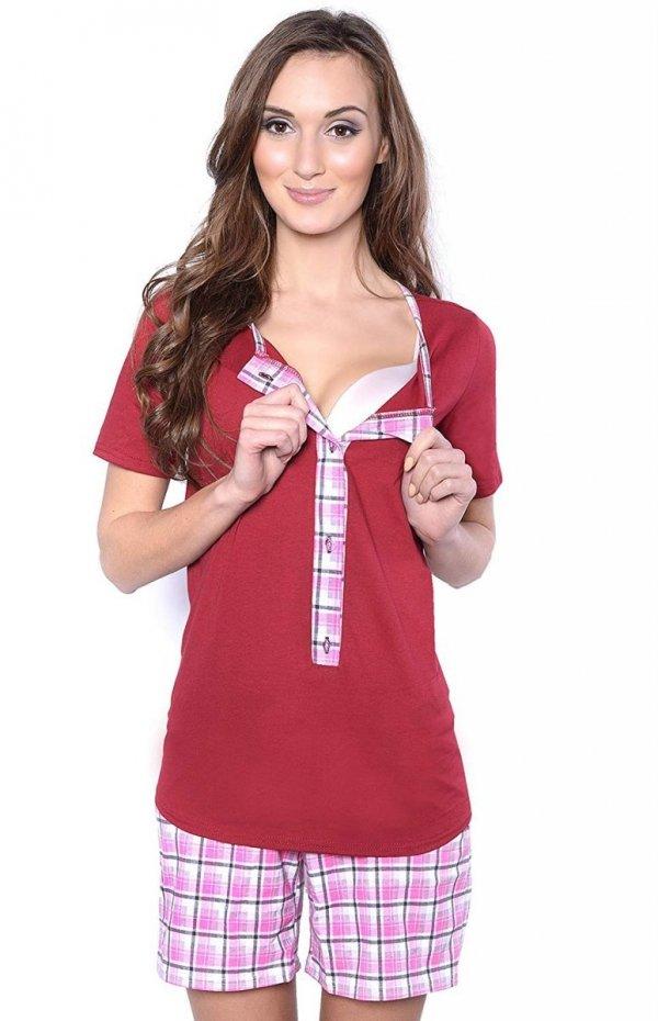 3 w 1 piżama ciążowa i do karmienia 4030/M47 bordo/róż 2