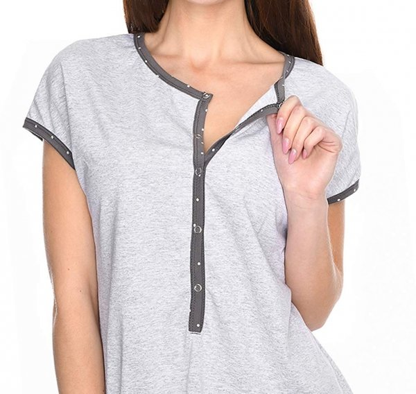 MijaCulture - 3 w 1 piżama ciążowa i do karmienia M79 melanż/szary 3