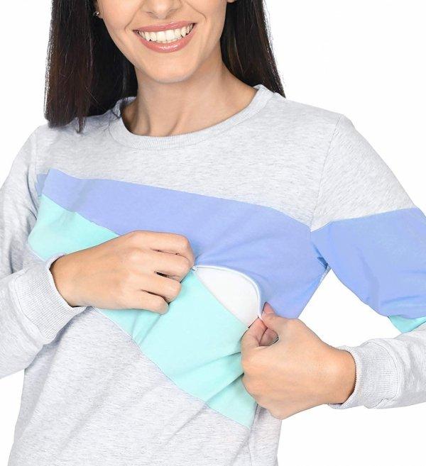 """Funkcjonalna bluza ciążowa i do karmienia """"SKY"""" 9086 melanż/niebieski/mięta3"""