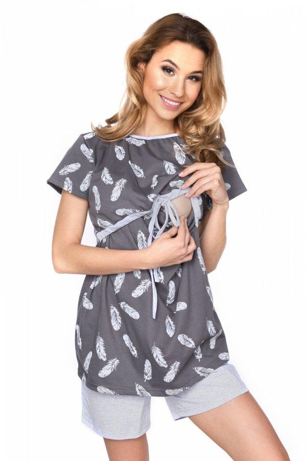 MijaCulture - 3 w 1 piżama ciążowa i do karmienia 4030/M76 grafit/piórka