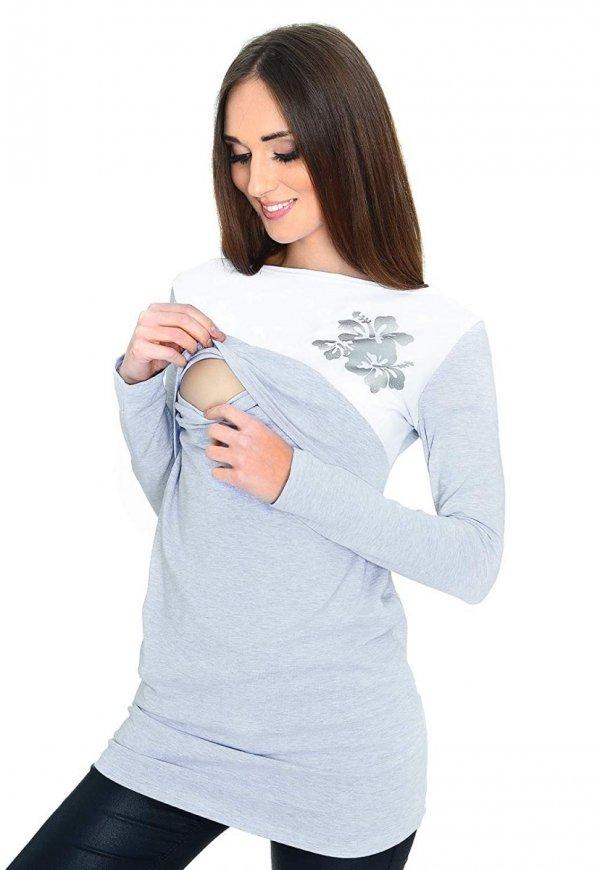 Praktyczna bluzka ciążowa i do karmienia Kwiaty 9088 melanż 2