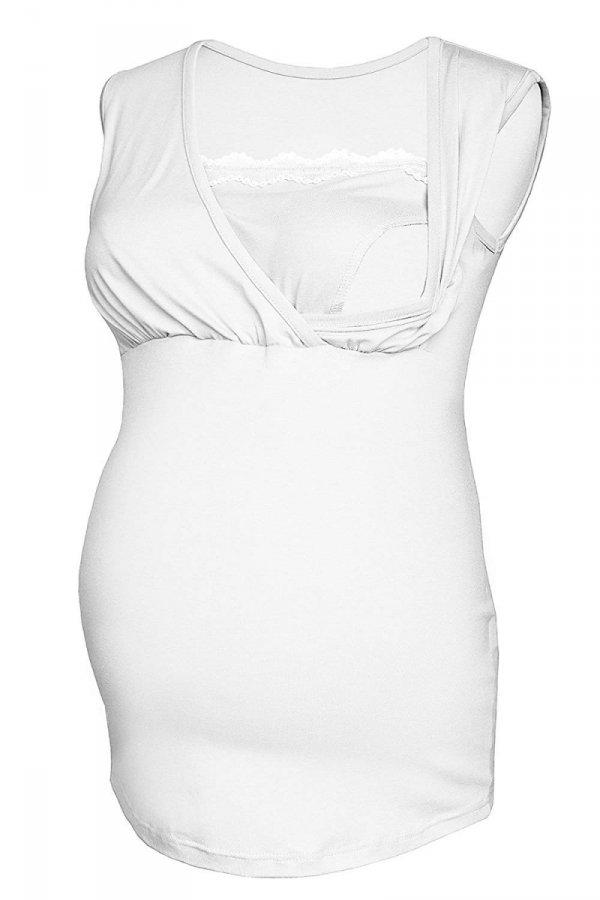 MijaCulture - top ciążowy i do karmienia z koronką 4032/M45 biały 2