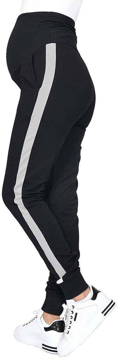 MijaCulture Wygodne spodnie dresowe ciążowe Coco M003 czarny/melanz2