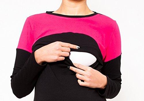 """Dwukolorowa bluzka 2 w1 ciążowa i do karmienia """"Nicole"""" długi rękaw 9017 czarny/róż 2"""