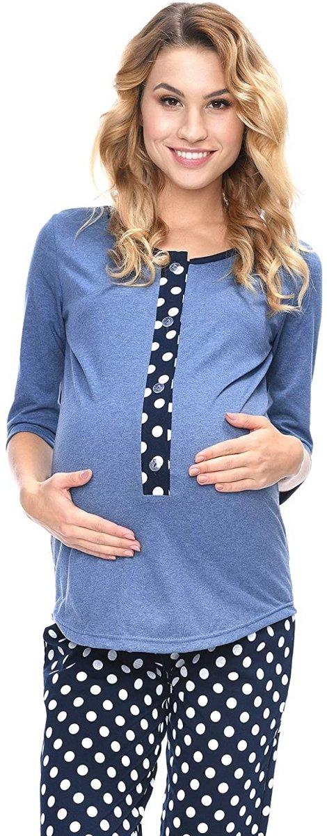 MijaCulture - 3 w 1 piżama ciążowa i do karmienia 4054/M52 niebieski/granat3